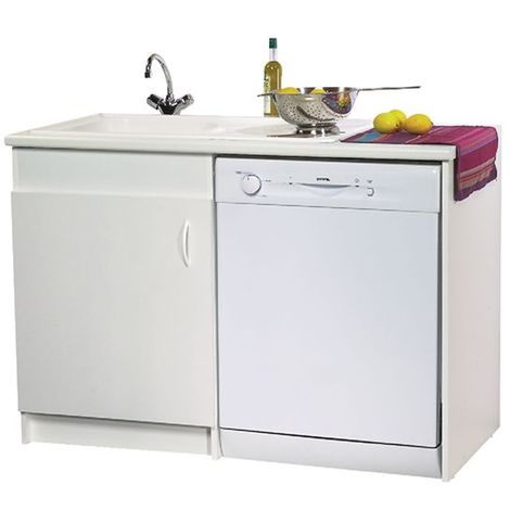 Meuble Sous Evier N F Lave Vaisselle 1 Porte Blanc 1200x600