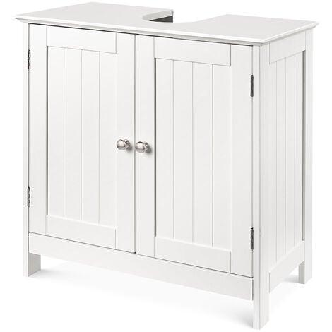 Meuble sous lavabo aqua blanc 60*30*60cm avec 2 portes pour salle de bains