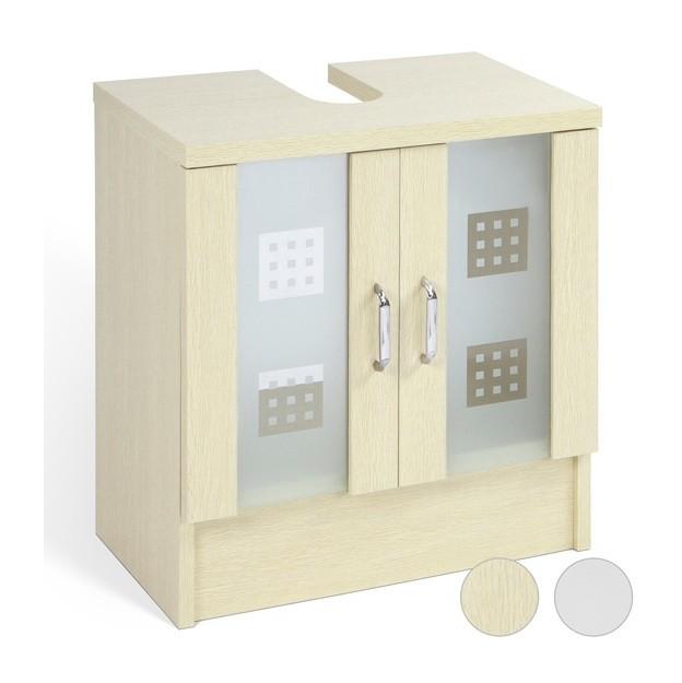 Meuble Sous Lavabo Avec Porte En Verre En Coloris Blanc Ou Hêtre