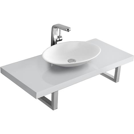 Meuble sous lavabo console pour lavabo avec vasque de lavabo céramique kit blanc poli fin