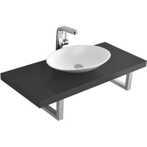 Meuble sous lavabo console pour lavabo avec vasque de lavabo céramique kit gris poli fin