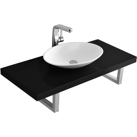 Meuble sous lavabo console pour lavabo avec vasque de lavabo céramique kit noir poli fin