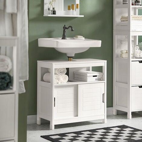 Meuble Sous-Lavabo Meuble de Salle de Bain Vasque - 1 étage et 2 Portes coulissantes -Blanc SoBuy® FRG128-W