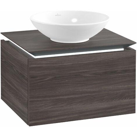 Meuble sous-lavabo Villeroy & Boch Legato B101, 600x380x500mm, centre lavabo, éclairage LED, Coloris: Chêne Graphite - B101L0FQ