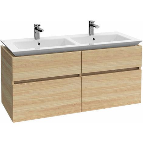 Meuble sous-lavabo Villeroy & Boch Legato B293L0, 1300x590x500mm, avec éclairage LED, Coloris: Gris Brillant - B293L0FP
