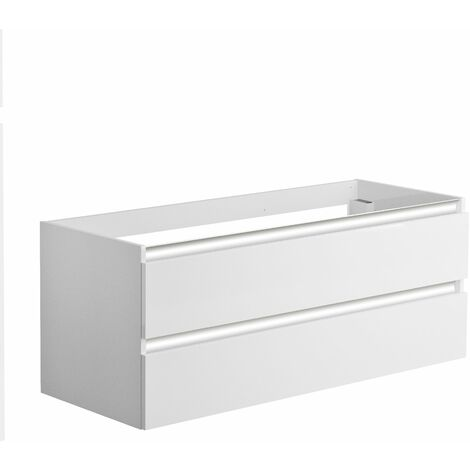 Meuble sous-vasque 120 cm 2 tiroirs PESARO blanc alpin brillant - Blanc Alpin
