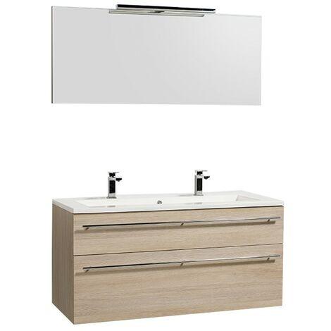 Meuble sous-vasque 120cm + vasque + miroir et éclairage MAIA / Chêne naturel/