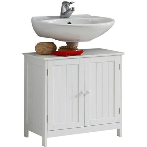 Meuble Sous Vasque 2 Portes En Mdf Laqué Mat Coloris Blanc Dim L