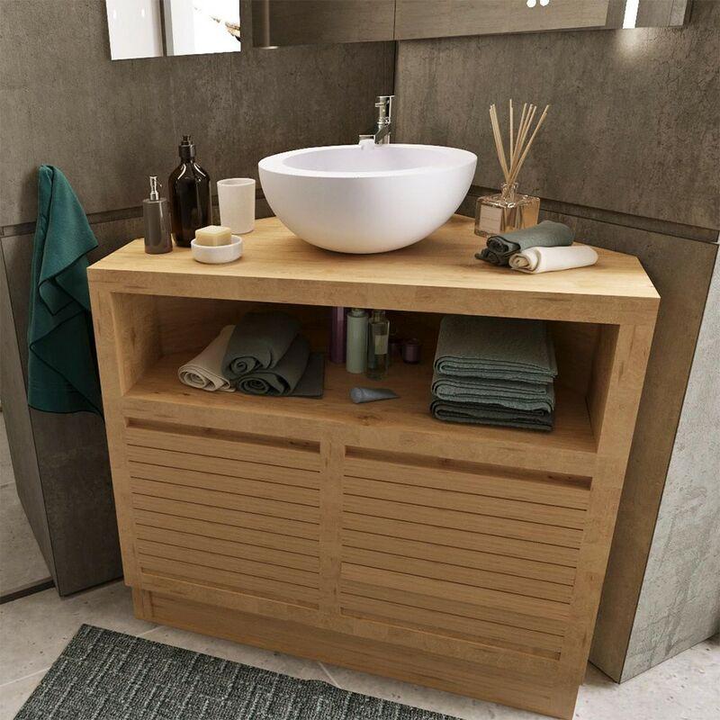 Meuble Sous Vasque à Poser D Angle En Teck 85 Cm Corner