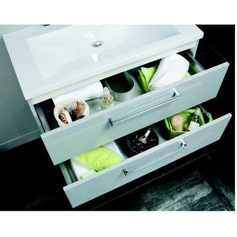 Meuble sous-vasque ALTERNA SEDUCTA 90 cm, 2 tiroirs, blanc brillant