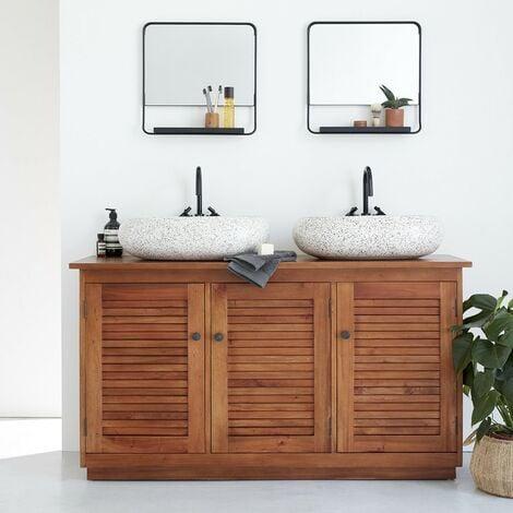 Meuble sous vasque colonial en bois d'acajou - Marron