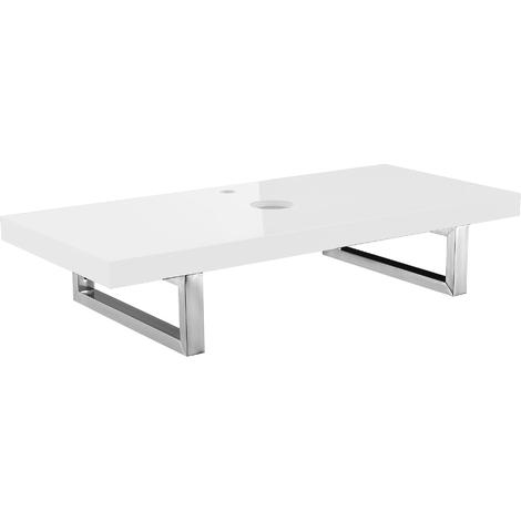 Meuble sous vasque, console pour meuble sous vasque [100x45cm] blanc brilliant de MDF + acier inoxydable