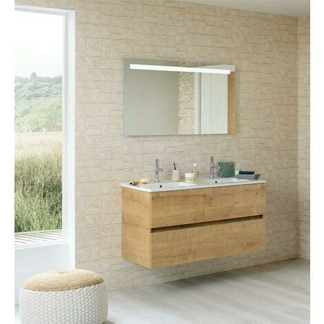Meuble sous vasque deux tiroirs San Nolita (120 cm) - Longueur : 120 cm - Mélaminé Blanc Brillant