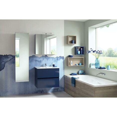 Meuble sous vasque deux tiroirs San Nolita (70 cm) - Longueur : 70 cm - Mélaminé Blanc Brillant