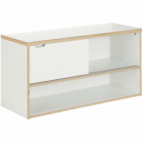 Meuble sous vasque double suspendu en bois blanc - MOGI 9500 - Blanc
