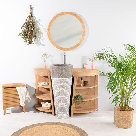 Meuble sous vasque en teck Florence 120cm + vasque gris