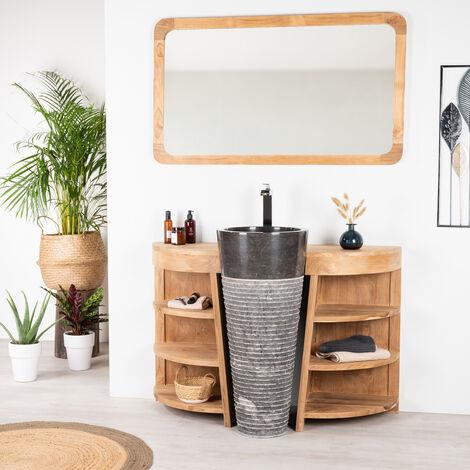 Meuble sous vasque en teck Florence 120cm + vasque noir