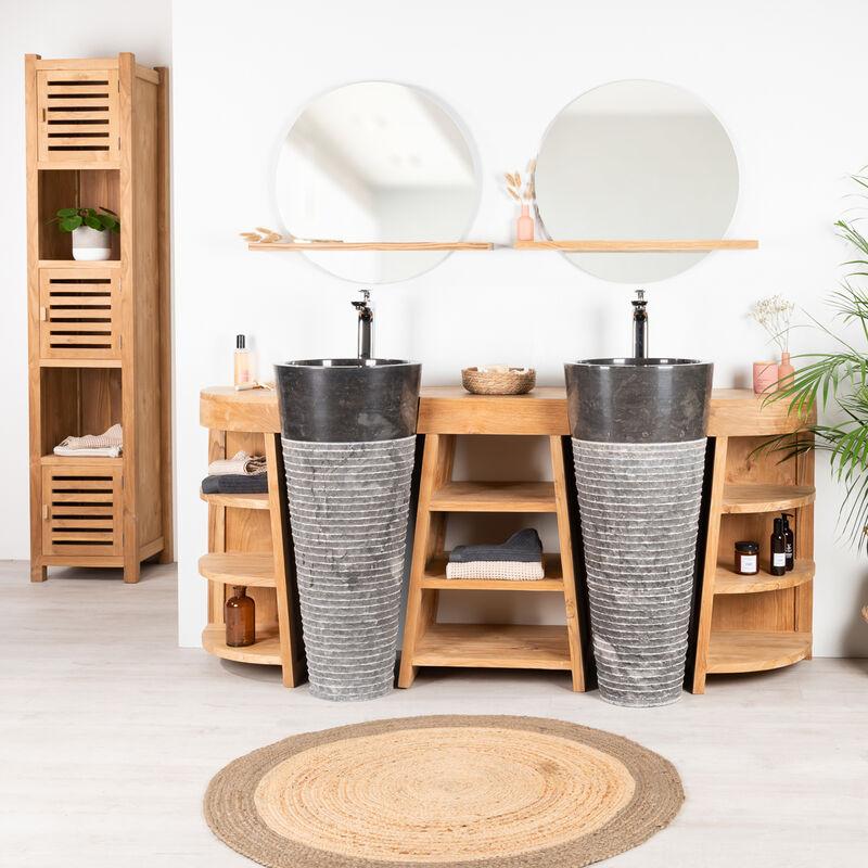 Meuble sous vasque en teck Florence double 180cm + vasques noir