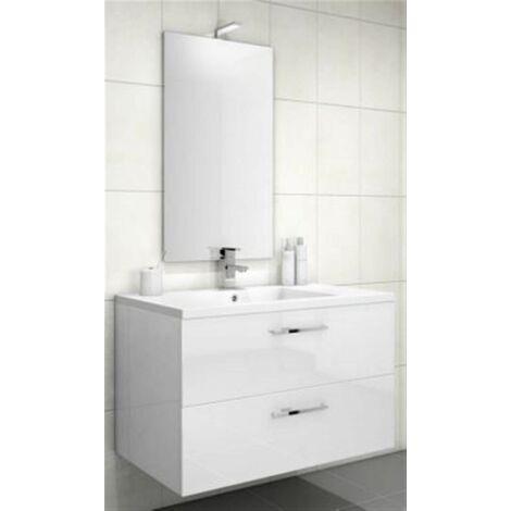 Meuble sous vasque LOFT 2 tiroirs (90 cm) - Modèle : Cristal Blanc