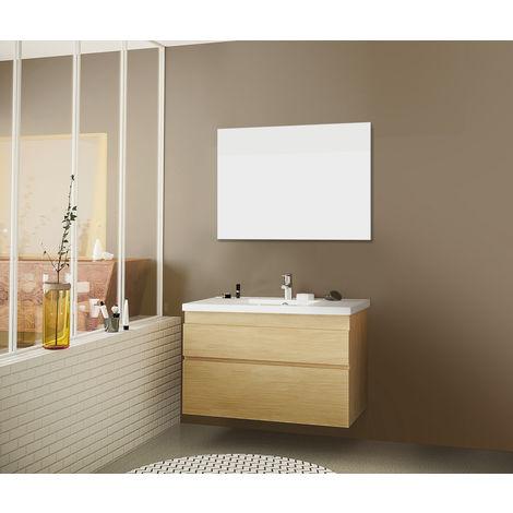 Meuble sous vasque NAVI en chêne massif et plan de toilette en céramique