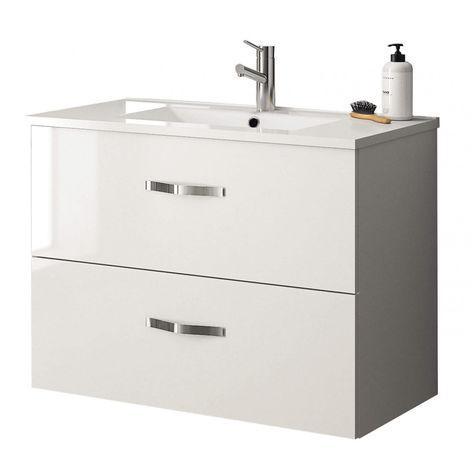 Meuble sous vasque NEOVA ANGELO blanc brillant 2 tiroirs coulissants