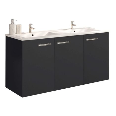 Meuble sous vasque NEOVA ANGELO graphite mat 3 portes