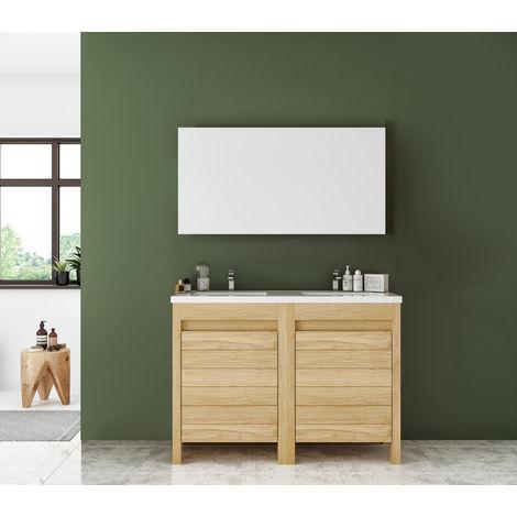 Meuble sous vasque ONE en chêne massif et plan de toilette double vasque en céramique