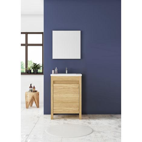 Meuble sous vasque ONE en chêne massif et plan de toilette en céramique