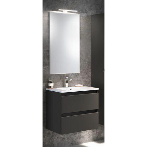 Meuble sous vasque RIVAGE 2 tiroirs de 90 cm - Modèle : Cristal blanc