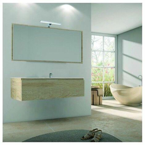Meuble sous vasque suspendu 1 tiroir nogal 80cm avec plan vasque Rio - Bois