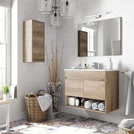 Meuble sous-vasque suspendu, 2 portes + Miroir finition nordik - Dim : 64x80x45cm -PEGANE-