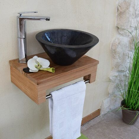 meuble sous vasque suspendu en teck pour lave mains lazzia. Black Bedroom Furniture Sets. Home Design Ideas