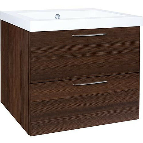 Meuble sous vasque + vasqueEKRY melèze marron 2 tiroirs 610x550x510mm