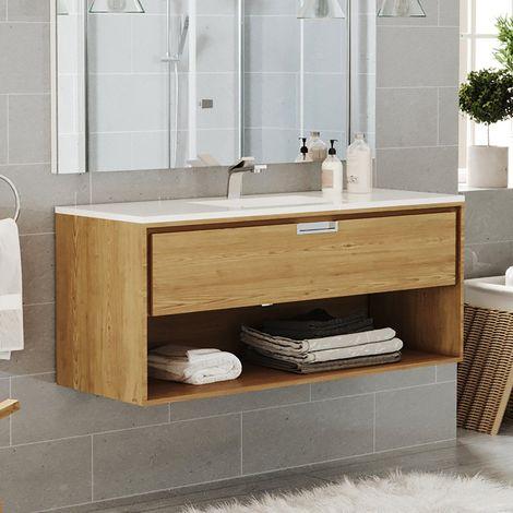 Meuble suspendu 120 cm 1 tiroir chêne + plan vasque en céramique, Futura