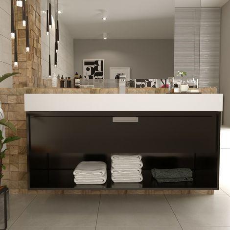 Meuble suspendu 120 cm 1 tiroir noir + vasque solid surface, Futura