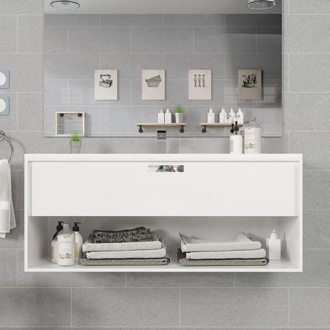 Meuble suspendu 120 cm blanc 1 tiroir + plan vasque en céramique, Futura