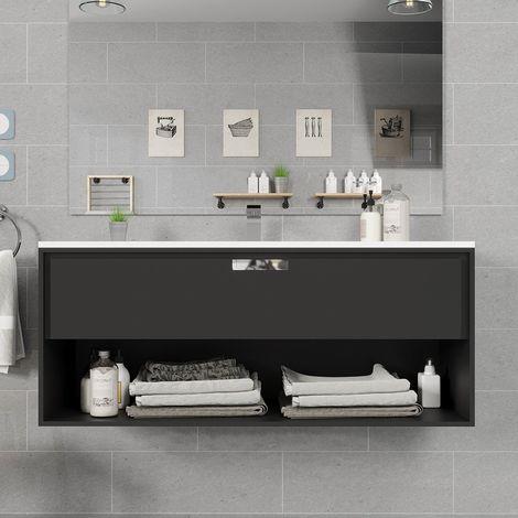 Meuble suspendu 120 cm noir 1 tiroir + plan vasque en céramique, Futura
