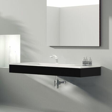 Meuble suspendu 120 cm noir + vasque céramique, Futura - Noir