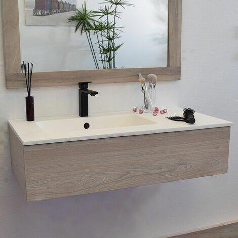 Meuble suspendu 90 cm + vasque solid surface, Heden finition bois