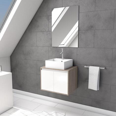 Meuble suspendu avec vasque à poser et miroir - dim. meuble 60x44x45 cm - WOODZ 60