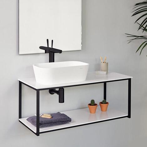 Meuble suspendu Uno metal pour vasque à poser