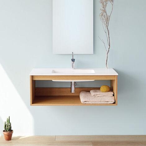Meuble suspendu Uno wood avec plan-vasque Blanc