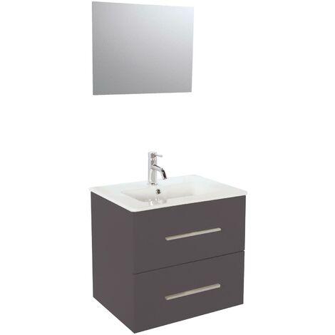Meuble TANARO LAQUE 60 CM GRIS + Miroir