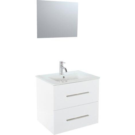 Meuble TANARO LAQUE 80 CM BLANC + Miroir