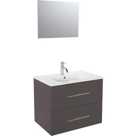 Meuble TANARO LAQUE 80 CM GRIS + Miroir