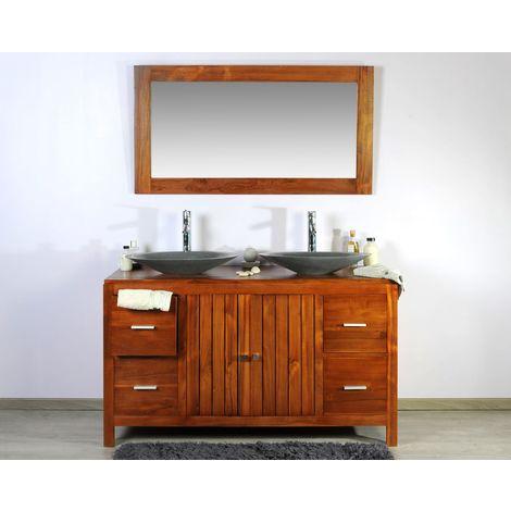 Meuble teck salle de bain 140 baggi - vasque blanc
