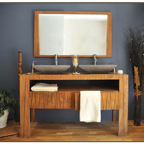 meuble teck salle de bain 140 borneo ensemble vasque gris - 237