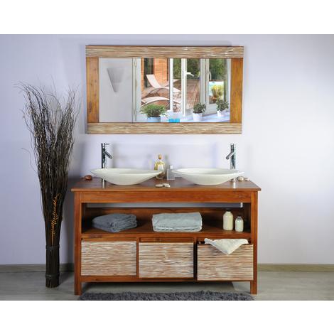 Meuble teck salle de bain 140 new savanah ensemble vasque gris - 246
