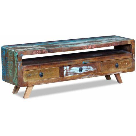 Meuble télé buffet tv télévision design pratique avec 3 tiroirs bois de récupération massif
