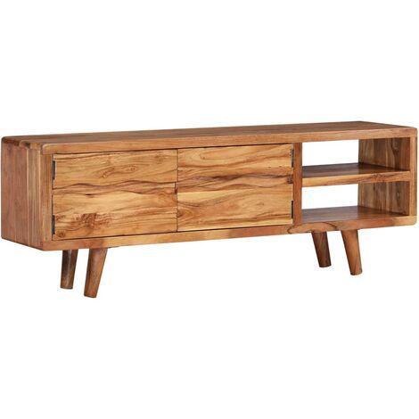 Meuble télé buffet tv télévision design pratique bois d'acacia avec portes sculptées 117 cm